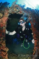 Heather in the FUJIKAWA MARU - Chuuk by Jim Garland
